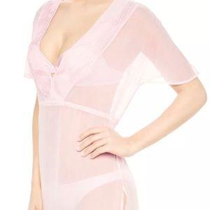 LA PERLA Pink Sheer Tunic Cover Up Lingerie Sz 4